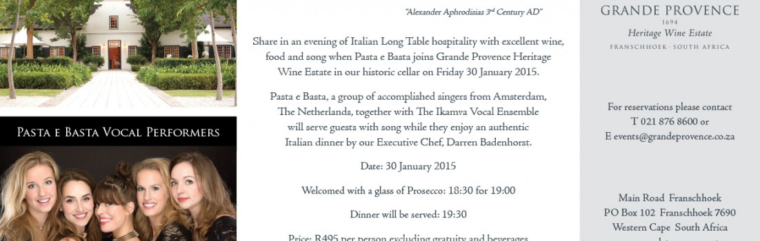 Grande Provence hosts Pasta e Basta from Amsterdam for an Italian evening